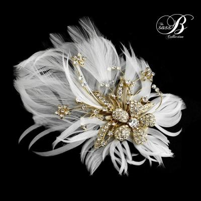 Seraphina Embellished Feather Headpiece - Gold - SASSB