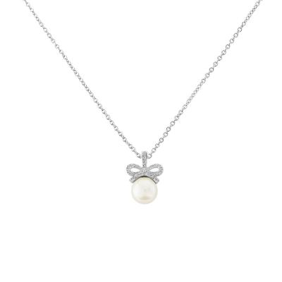 Cubic Zirconia - Vintage Bow Necklace - CZNK12