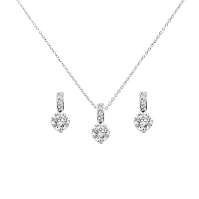 Cubic Zirconia Collection - Classic crystal Necklace Set - CZNK18