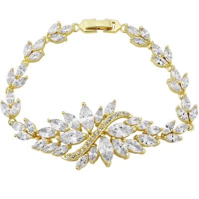 Cubic Zirconia Collection - Statement Bracelet - Gold - CZBRA7