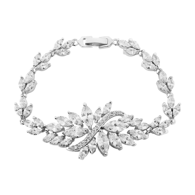 Cubic Zirconia Collection - Statement Bracelet - Silver - CZBRA7