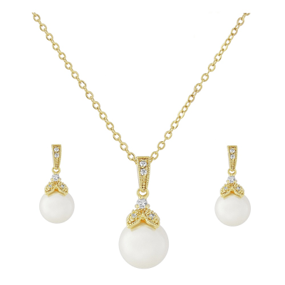 CUBIC ZIRCONIA COLLECTION - PRECIOUS PEARL NECKLACE SET - Gold CZNK20