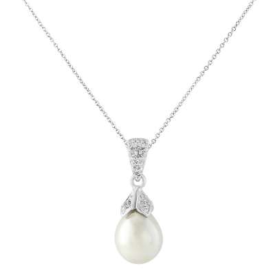 Cubic Zirconia Collection - Classic Pearl Necklace - Ivory CZNK21