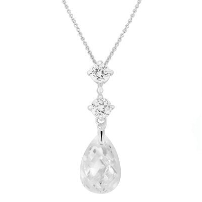 Cubic Zirconia Collection - Austrian Crystal Drop Necklace - CZNK22