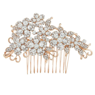 Crystal Flowers Hair Comb - Rose Gold (HC47)