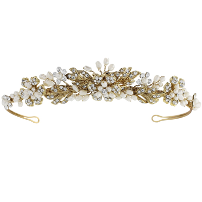 BETHANY CRYSTAL LUXE TIARA - 14K GOLD PLATED- 8A  - SASSB