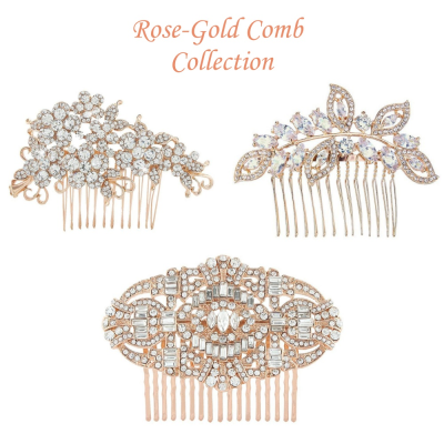 Rose-Gold Wedding Comb Collection