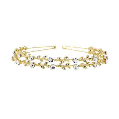 CRYSTAL CHIC HEADBAND- DOUBLE ROW GOLD (S-HB200)