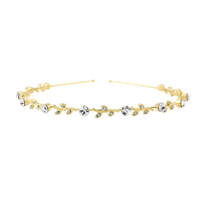 CRYSTAL CHIC HEADBAND- SINGLE ROW GOLD (S-HB201)