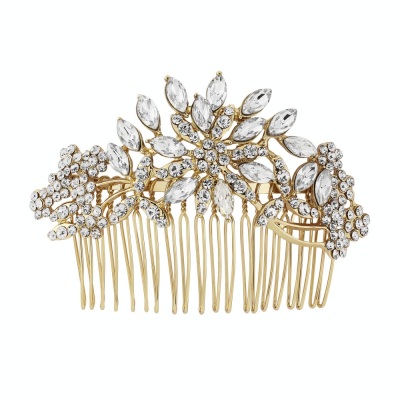 Crystal Extravagance Hair Comb - Gold - HC146