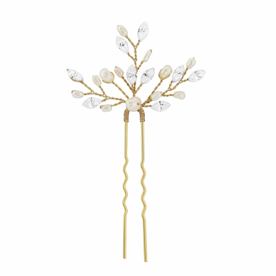 GOLD ELODIE CRYSTAL PEARL HAIR PIN - SASSB (HP1-GOLD)