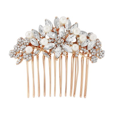 VINTAGE PEARL HAIR COMB - ROSE GOLD (HC118)