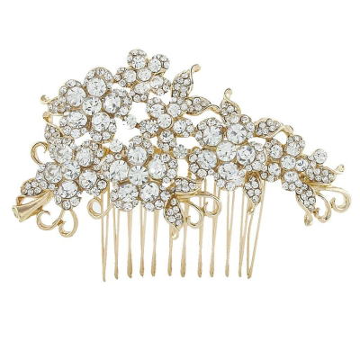 CRYSTAL FLOWERS HAIR COMB - GOLD (HC47)