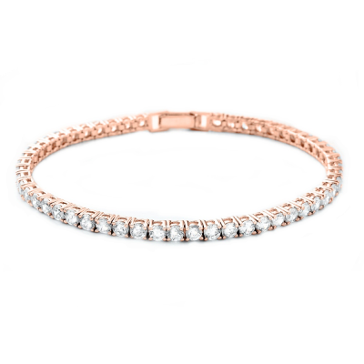 CUBIC ZIRCONIA COLLECTION - SIMPLY CHIC TENNIS BRACELET ROSE GOLD- BRA2