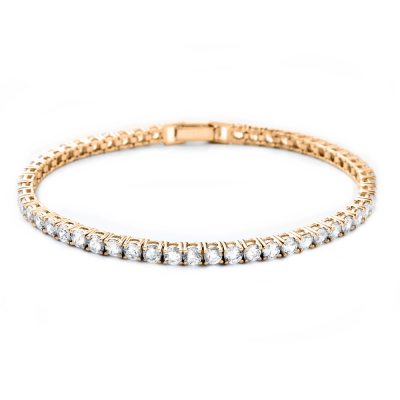 CUBIC ZIRCONIA COLLECTION - SIMPLY CHIC TENNIS BRACELET GOLD- BRA2