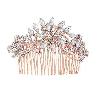 CRYSTAL EXTRAVAGANCE HAIR COMB - ROSE GOLD - HC148