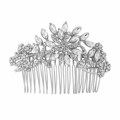 CRYSTAL EXTRAVAGANCE HAIR COMB - Silver - HC149