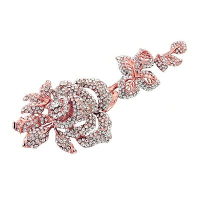 CRYSTAL BRIDAL HAIR/DRESS BROOCH -15  ROSE GOLD