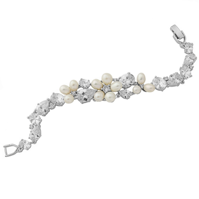 Cubic Zirconia Collection - Luxe Vintage Freshwater Pearl Bracelet - CZBRA16
