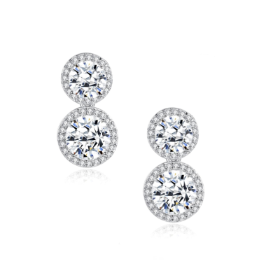CUBIC ZIRCONIA COLLECTION - SPARKLE GEM EARRINGS - CZER549 SILVER