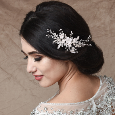 ATHENA COLLECTION -EXQUISITE FLORAL EMBELLISHED HAIR COMB - SILVER - HC173