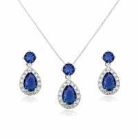 CUBIC ZIRCONIA COLLECTION - DAZZLING CRYSTAL DROP NECKLACE SET - (CZNK55) SAPPHIRE