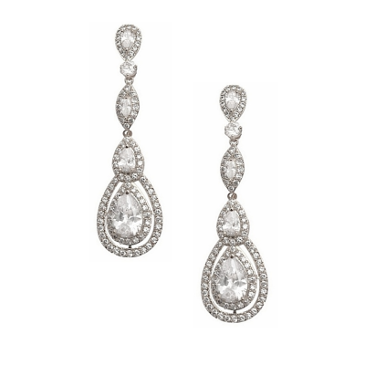 CUBIC ZIRCONIA COLLECTION - STARLET SPARKLE EARRINGS - CZER434 SILVER