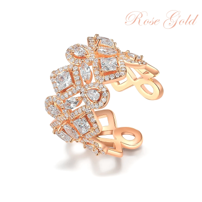 CUBIC ZIRCONIA COLLECTION - CRYSTALLURE COCKTAIL RING - ROSE GOLD R13