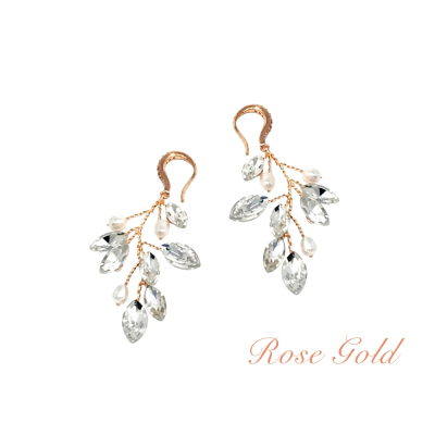 ATHENA COLLECTION - PEARL VINE EARRINGS - (ER488) ROSE GOLD