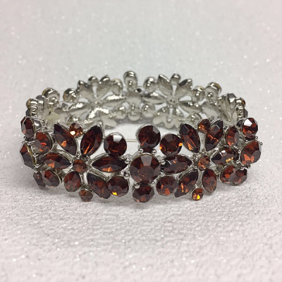 SALE ITEM -OPULENCE CRYSTAL STRETCH BRACELET - SMOKED TOPAZ (11)