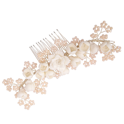 ATHENA COLLECTION - FLORAL ROMANCE HAIR COMB - HC201 SILVER