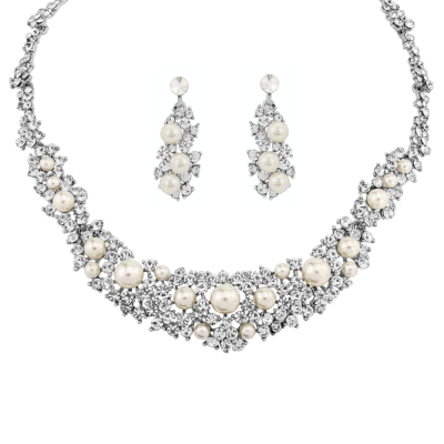 ATHENA COLLECTION - EXQUISITE PEARL NECKLACE SET - NK167 SILVER