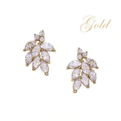 CUBIC ZIRCONIA COLLECTION - DAINTY SHIMMER EARRINGS - CZER486 GOLD