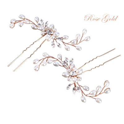 Athena Collection - Pair Classic Hair Pins - Ivory (Rose Gold) PIN22