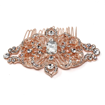 REGAL CRYSTAL HAIR COMB - (HC56) ROSE GOLD