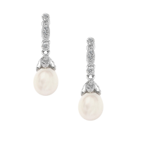 CUBIC ZIRCONIA COLLECTION - VINTAGE NATURAL PEARL EARRINGS- CZER423