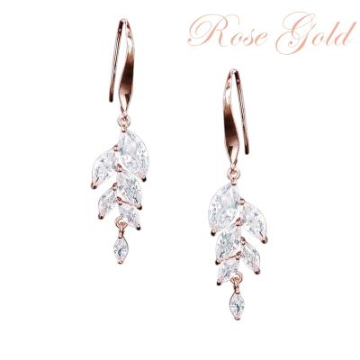 CUBIC ZIRCONIA EARRINGS - BELLA DAINTY DROP EARRINGS - CZER500 ROSE GOLD