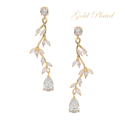 CUBIC ZIRCONIA COLLECTION - DIVINE CRYSTAL VINE EARRINGS - CZER593 GOLD