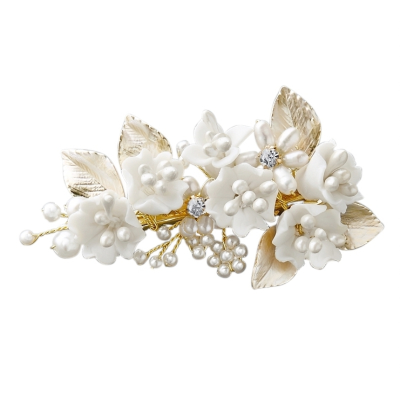 ATHENA COLLECTION - EXQUISTE FLORAL HAIR CLIP - CLIP759 GOLD FINISH