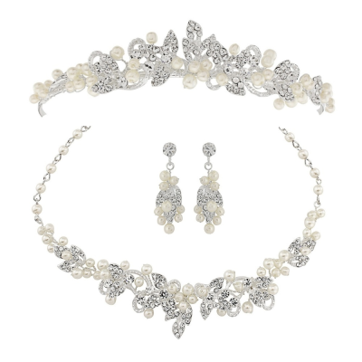 ATHENA COLLECTION - Exquisite Pearl Tiara Set - Ivory
