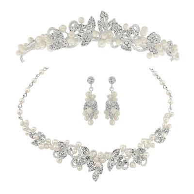 ATHENA COLLECTION - Exquisite Pearl Tiara Set - Ivory