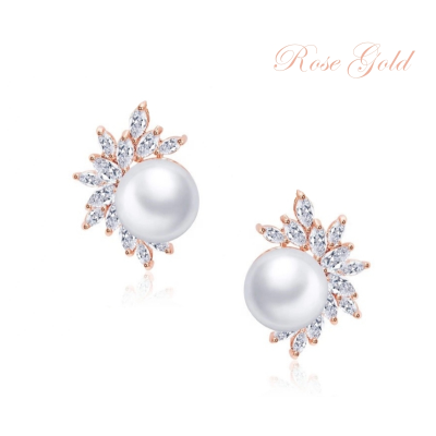 CUBIC ZIRCONIA COLLECTION - DAZZLING PEARL EARRINGS - CZER428 (ROSE GOLD)