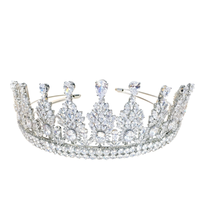 CUBIC ZIRCONIA COLLECTION - REGAL CRYSTAL TIARA - AHB-22 - SILVER