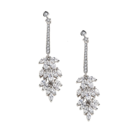 CUBIC ZIRCONIA COLLECTION - LUSH CRYSTAL DROP EARRINGS - CZER497 SILVER