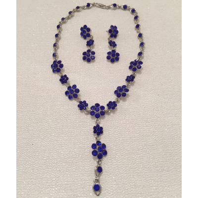 SALE ITEM - CRYSTAL DROP NECKLACE SET - BLUE - (510)