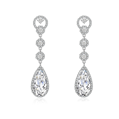 CUBIC ZIRCONIA COLLECTION - CRYSTAL LUXE EARRINGS - CZER516 (CLEAR)