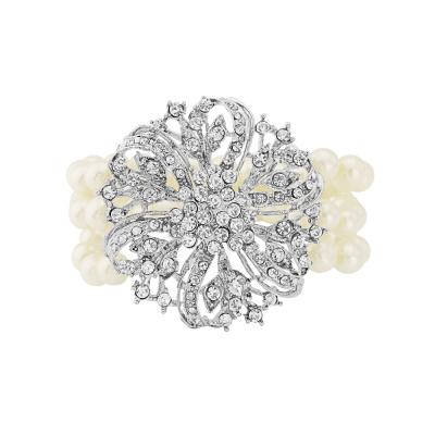 Glitzy Faux Pearl Stretch Bracelet - Clear (VC47)