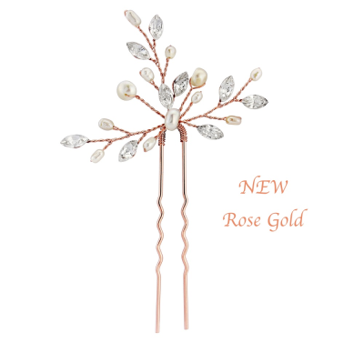 ROSE GOLD ELODIE CRYSTAL PEARL HAIR PIN - SASSB (HP1- ROSE GOLD)