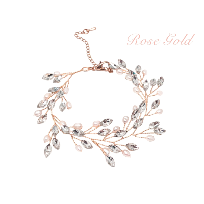 ATHENA COLLECTION - PEARL VINE BRACELET - BRA39 - ROSE GOLD