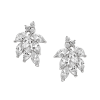 CUBIC ZIRCONIA COLLECTION - DAINTY SHIMMER EARRINGS - CZER486 SILVER